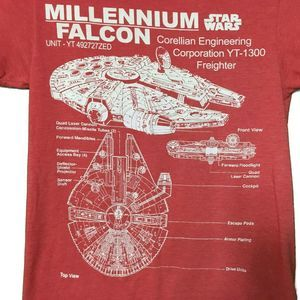 Star Wars Millenium Falcon Blueprints Tshirt Med